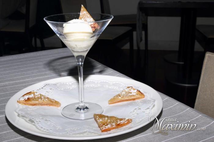 Helado de Arbequina y tarta fina de manzana