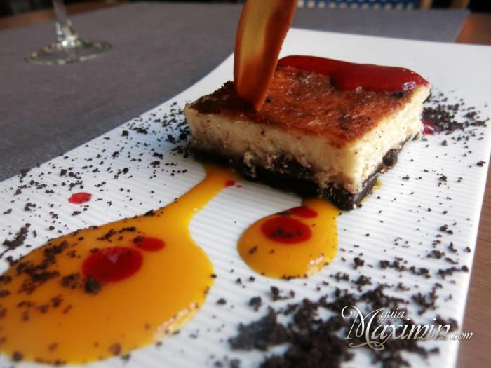 tarta de queso gallego con confitura casera de fruta de la pasión y mango