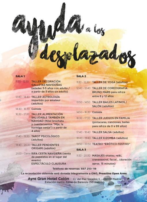 Cartel actividades mercadillo solidario Ayre Gran Hotel Colón