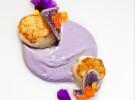 Vieira con patata violeta y huevas de salmón rojo salvaje_El Remedio