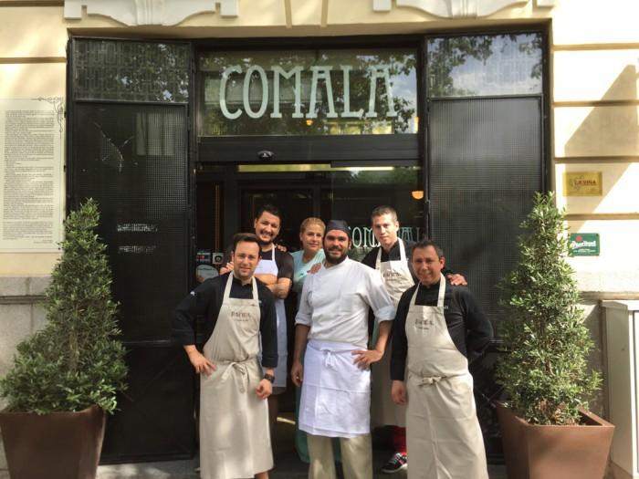 Gabriel Zapata, Vicente de la Red y Carlos Langreo de BACIRA con Mario Payán, Jaime Gomez Ibarlucea, jefe de cocina de Comala y Myriam Moreno, al frente de Comala