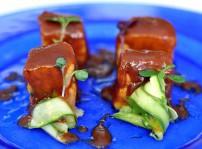 Detalle Taquitos de bonito barbacoa sobre ajoblanco y verdurita, Gaztelupe 2