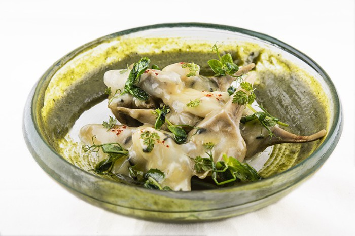 Cocochas de bacalao, alcachofas y cremoso de algas y plancton_El Foralín
