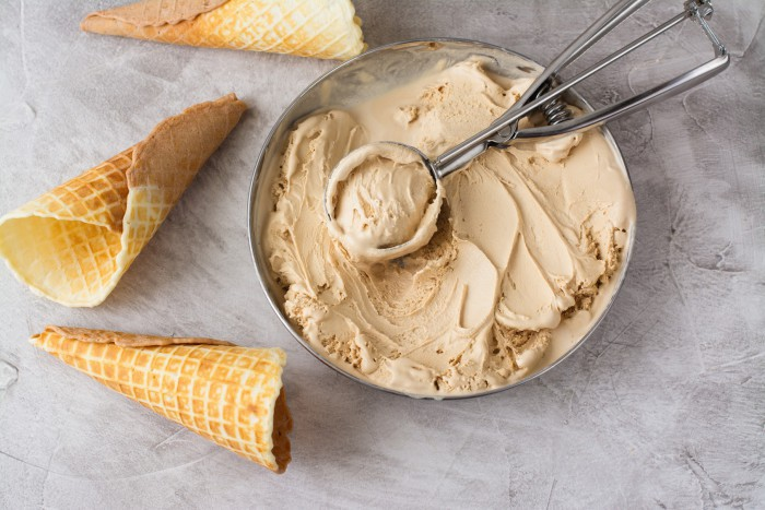 Caramel ice cream and waffle cones