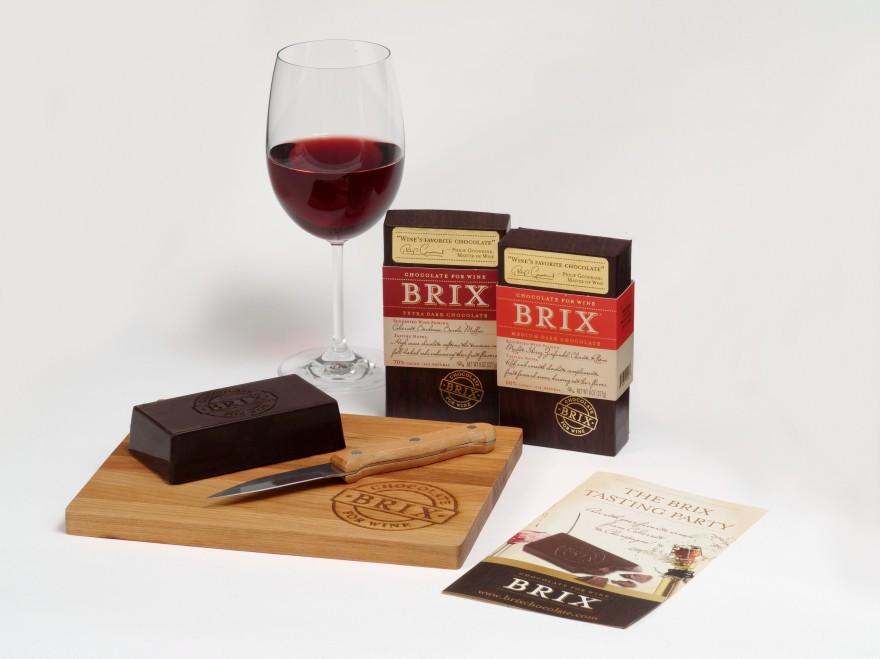 Brix bars Extra Dark y Medium Dark con copa de vino