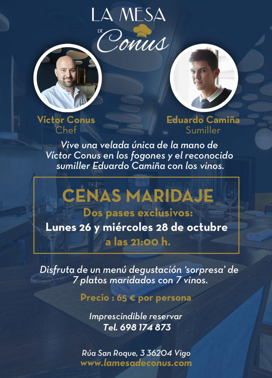 Cartel Cena Maridaje 26 Y 28 De Octubre Con Víctor Conus Y Edu Camiña En La Mesa De Conus