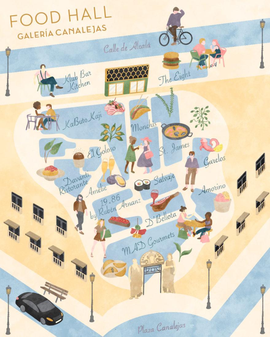 10. Food Hall De Galería Canalejas Plano Ilustrado
