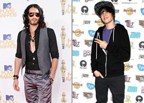 Russell Brand y Justin Bieber, los peor vestidos del mundo del espectáculo