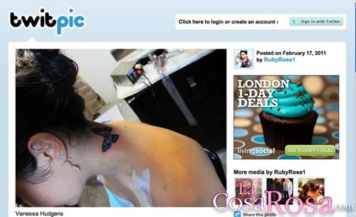 Vanessa Hudgens muestra su primer tatuaje en Twitter