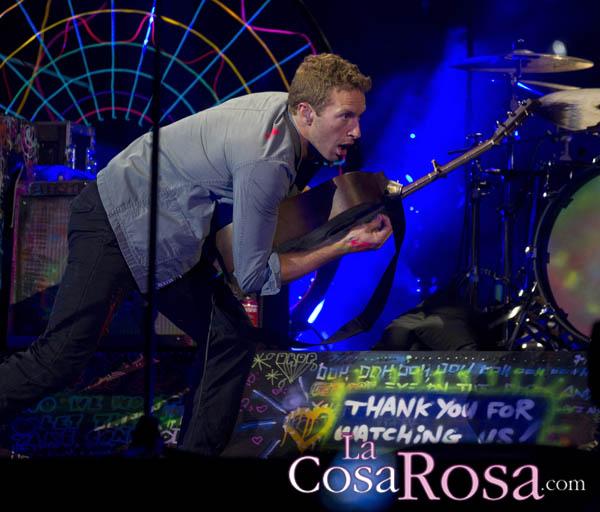 Chris Martin en su actuación en Madrid