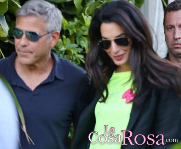 George Clooney y Amal Alamuddin celebran una fiesta por su compromiso