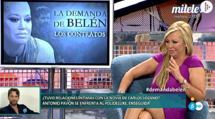 Belen Esteban muestra la demanda a Toño Sanchís en la primera parte del Belenazo