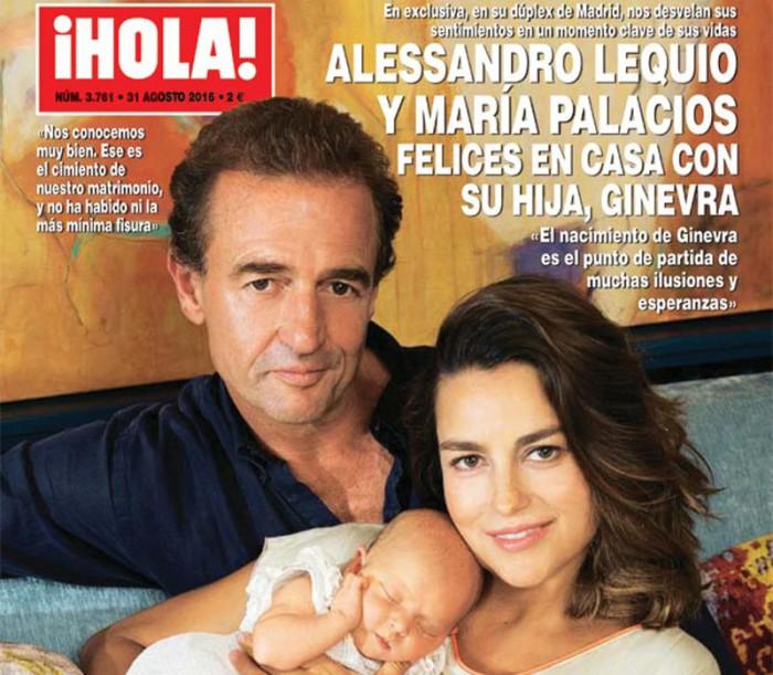 Alessandro Lequio y María Palacios posan con su hija Ginevra Ena en ¡Hola!
