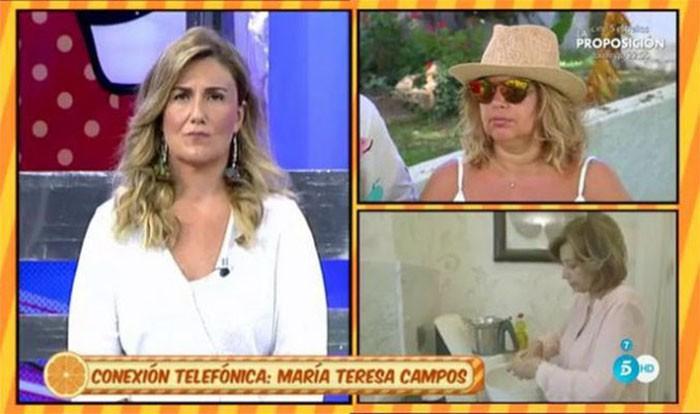 María Teresa Campos se enfada y se disculpa con Sálvame