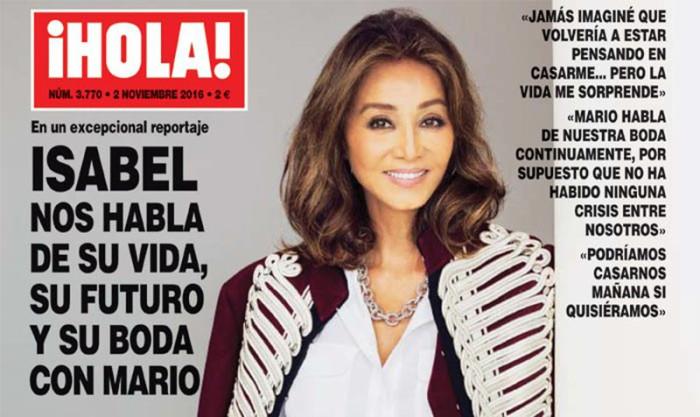 Isabel Preysler, portada de ¡Hola! por sus planes de boda con Mario Vargas Llosa