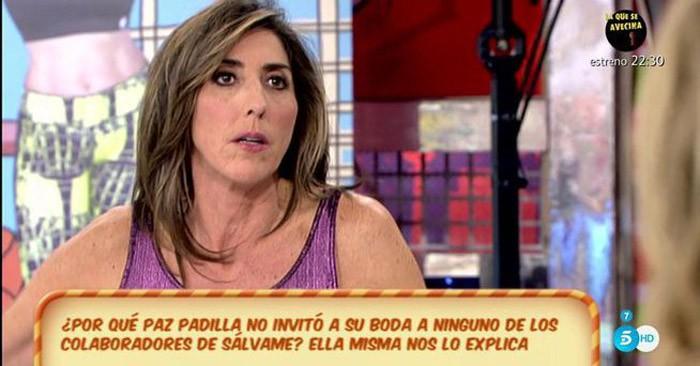 Paz Padilla justifica por qué no invitó a sus compañeros de Sálvame a su boda