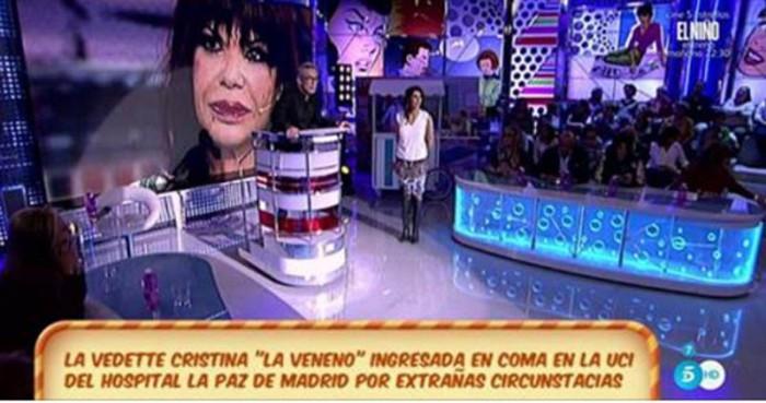 """Cristina """"La veneno"""" está en coma tras golpearse en la cabeza"""