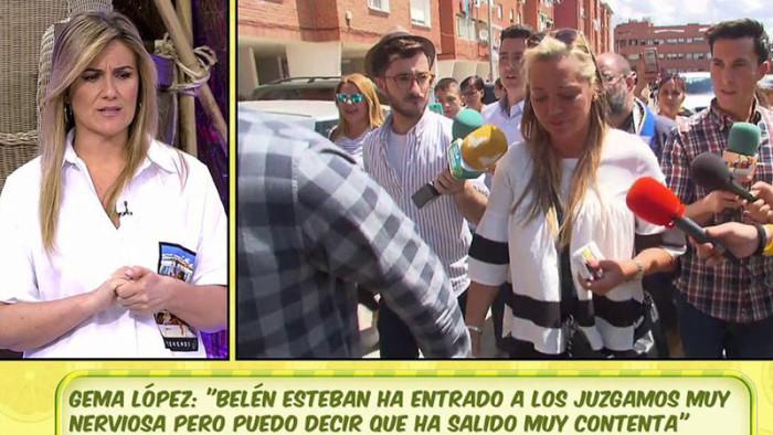 Belén Esteban contenta con el desarrollo del juicio contra Toño Sanchís