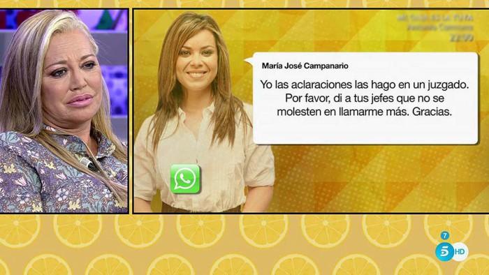 María José Campanario responde a Belén Esteban