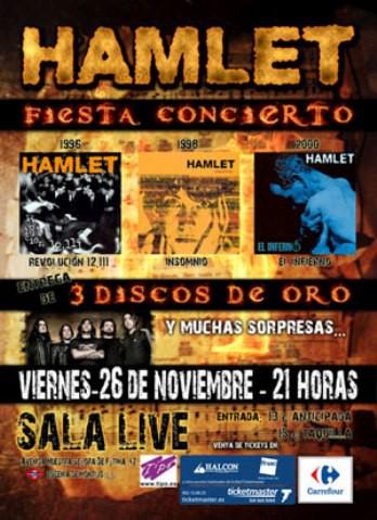 Hamlet, concierto y entrega de triple disco de oro en noviembre