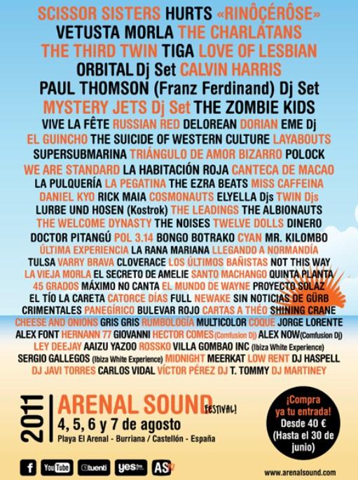 Arenal Sound 2011, toda la información sobre el festival