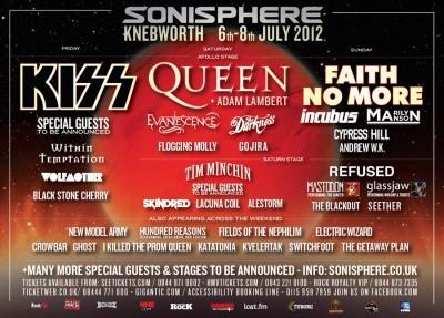 Sonisphere UK 2012 cartel