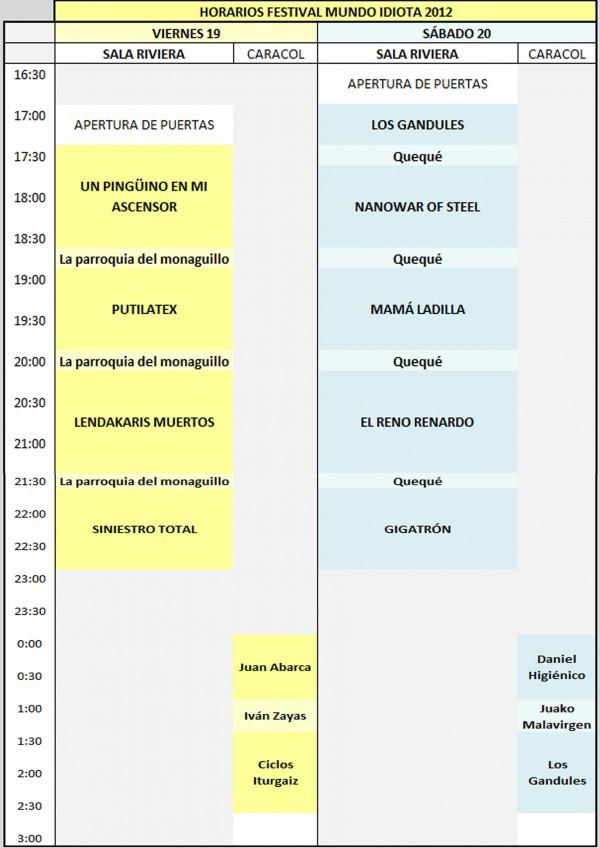 Mundo Idiota 2012 horarios