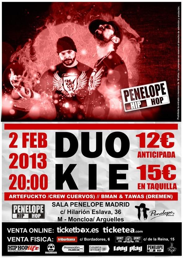 Duo Kie Madrid Penélope 2 febrero Artefuckto Dremen cartel