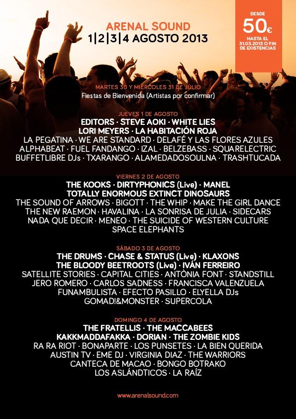 Arenal Sound 2013, cartel por días, el 80% de los abonos vendido