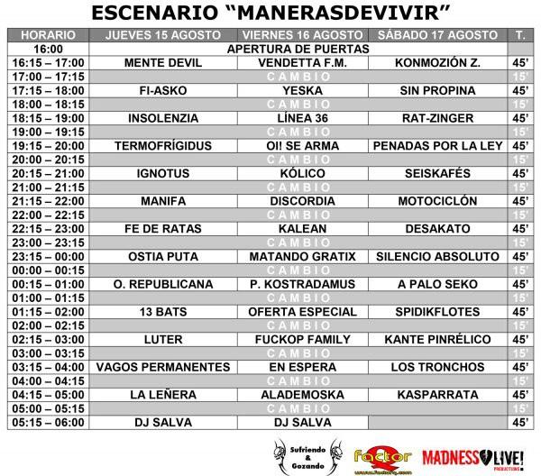 Aúpa Lumbreiras!! 2013 horarios escenario Maneras de vivir