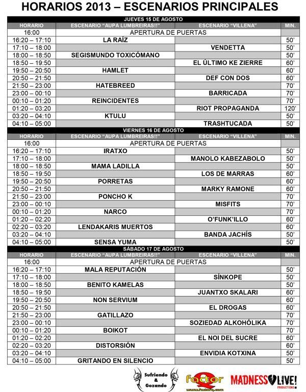 Aúpa Lumbreiras!! 2013 horarios escenarios principales