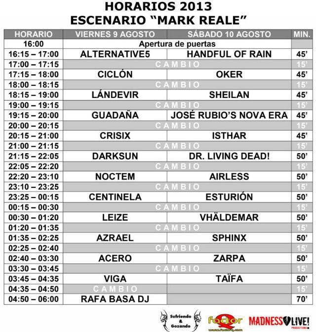 Leyendas del Rock 2013 horarios Mark Reale