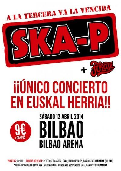 Ska-P, el 12 de abril en Bilbao e información sobre la devolución de entradas