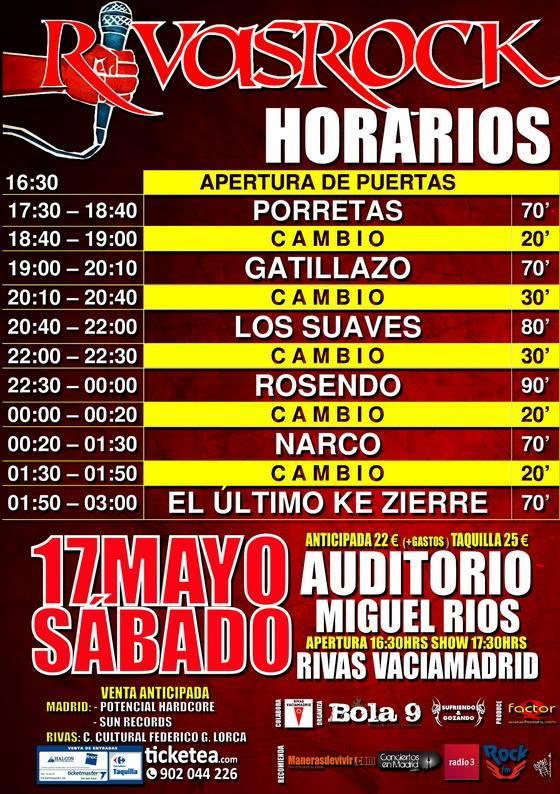 Rivas Rock 2014 horarios