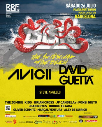 Barcelona Beach Festival cartel 2014 Avicii David Guetta