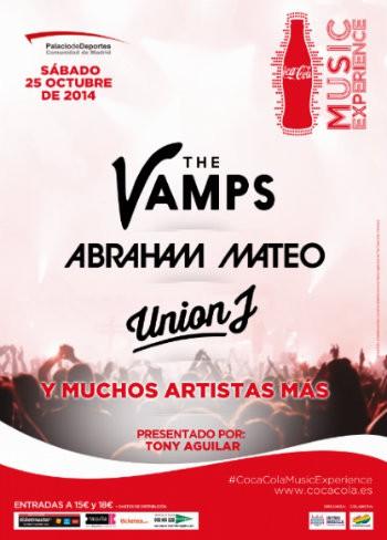 Coca Cola Music Experience cartel Palacio Deportes Madrid The Vamps Abraham Mateo Union J