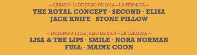 Distribución por días 101 Sun Festival 2014 La Térmica