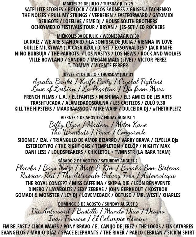 Arenal Sound 2014 cartel completo por días