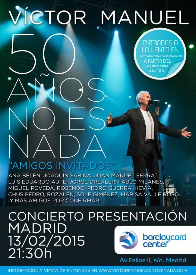 Víctor Manuel, concierto especial el 13 de febrero en Madrid