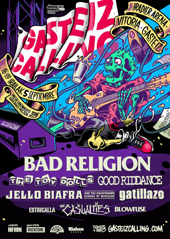 Gasteiz Calling, festival de punk rock el 5 de septiembre en Vitoria