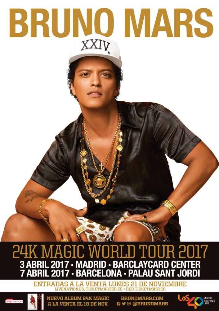 Bruno Mars, gira por España en abril de 2017