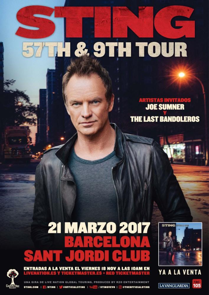 Sting, el 21 de marzo de 2017 concierto en el Sant Jordi de Barcelona
