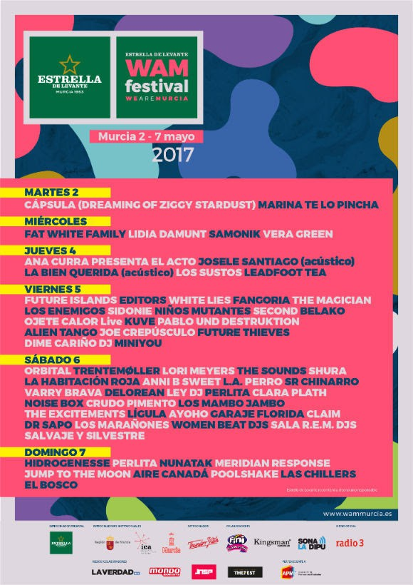 Festival WAM Murcia cartel días