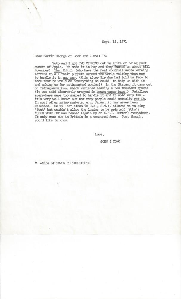 John Lennon, una de sus cartas se vende por 35.000 dólares