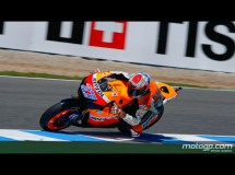 Casey Stoner también domina en mojado en el Warm Up de MotoGP en Jerez