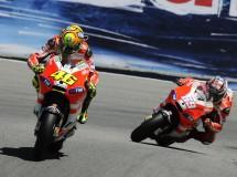 Rossi y Hayden satisfechos con su ritmo, pero lejos de los líderes en Laguna Seca