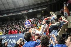 Marc Márquez gana el Superprestigio Dirt Track de Barcelona, Mees 2º y Noyes 3º