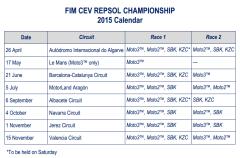 Calendario y carreras del Mundial Junior Moto3 y Europeos Moto2 y SBK 2015