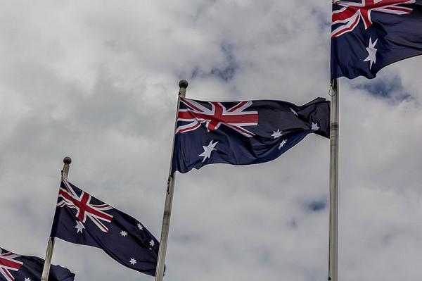 Banderas de Australia ondenado en Melbourne