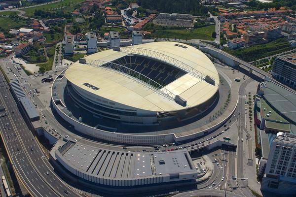 Vista aérea del Estadio do Dragao, la casa del FC Porto